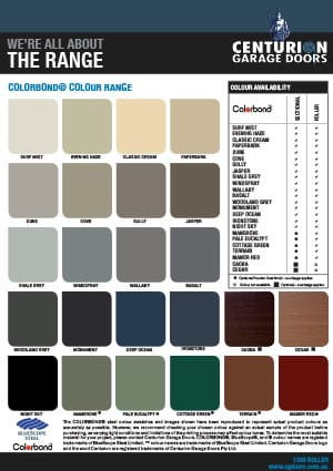 Colorbond Colour Chart (QLD, NSW, VIC, SA)