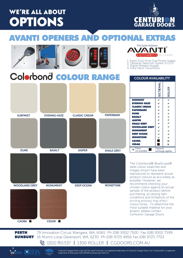 Colorbond Colour Chart (WA Only)