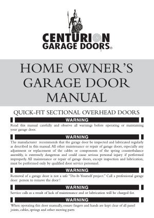 Home Owners Quick-Fit Sectional Door Manual