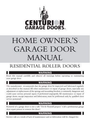Home Owners Roller Door Manual