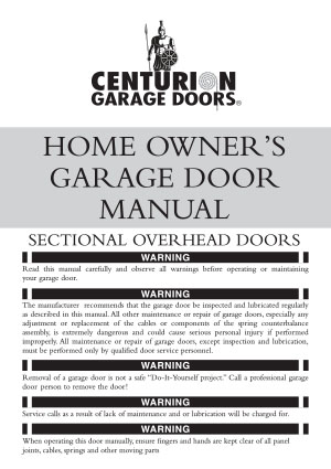 Home Owners Sectional Door Manual