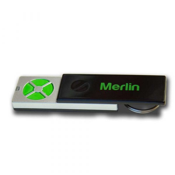 merlin SLIDING COVER 1 Merlin E950M 4-Button Key-Ringed Style Remote With Sliding Cover