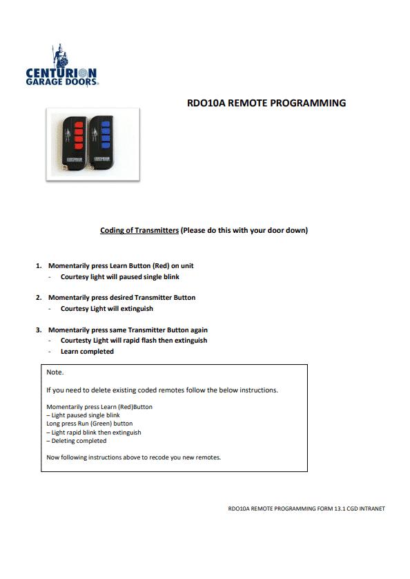 Cover RDO10 Remote Coding User Guides