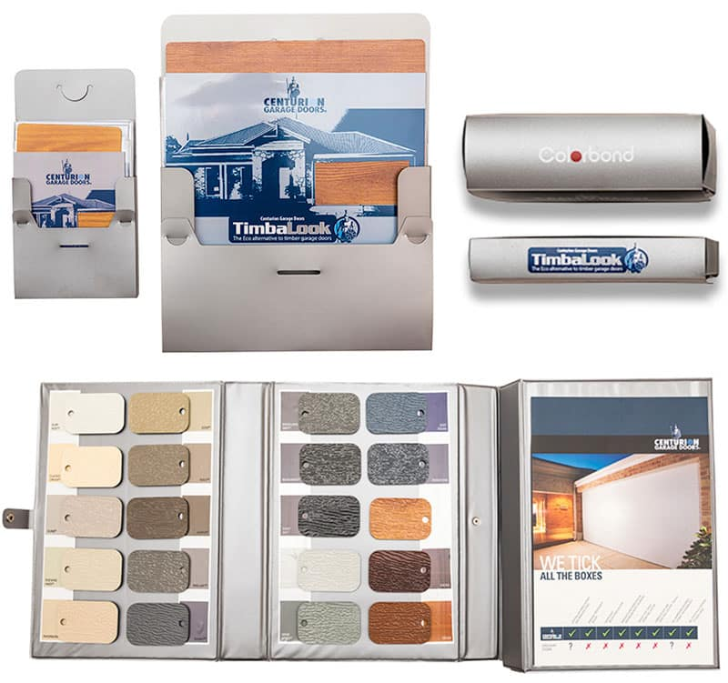 Brochures, colour swatches and door samples for Centurion dealers