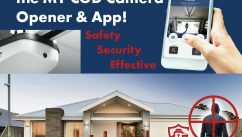 Garage Safety and Security Robber in Front of House and MY CGD App on a phone and camera garage door opener