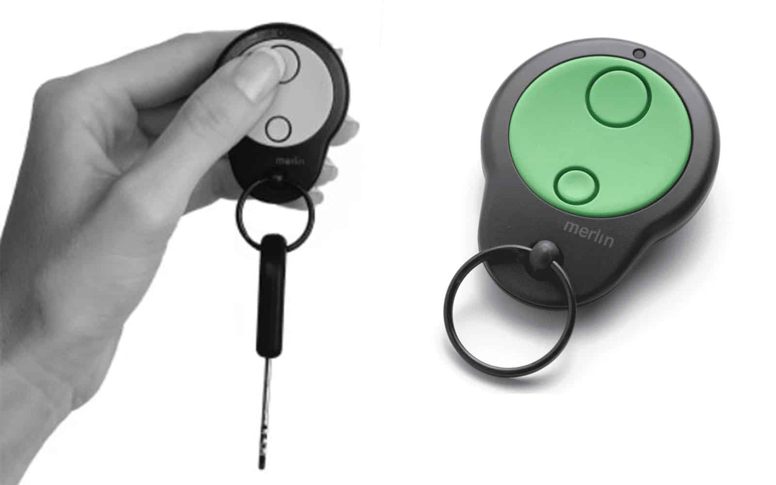Merlin M842 Garage Door Remote and Remote and Key in Lady's Hand