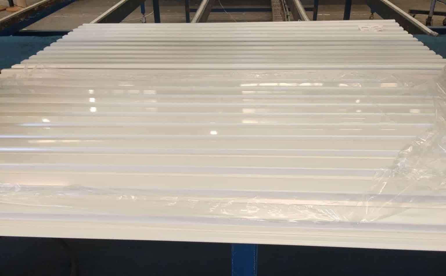 Hamptons White Roller Garage Door during manufacturing process