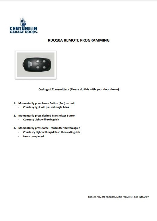 RDO10AProgramming User Guides